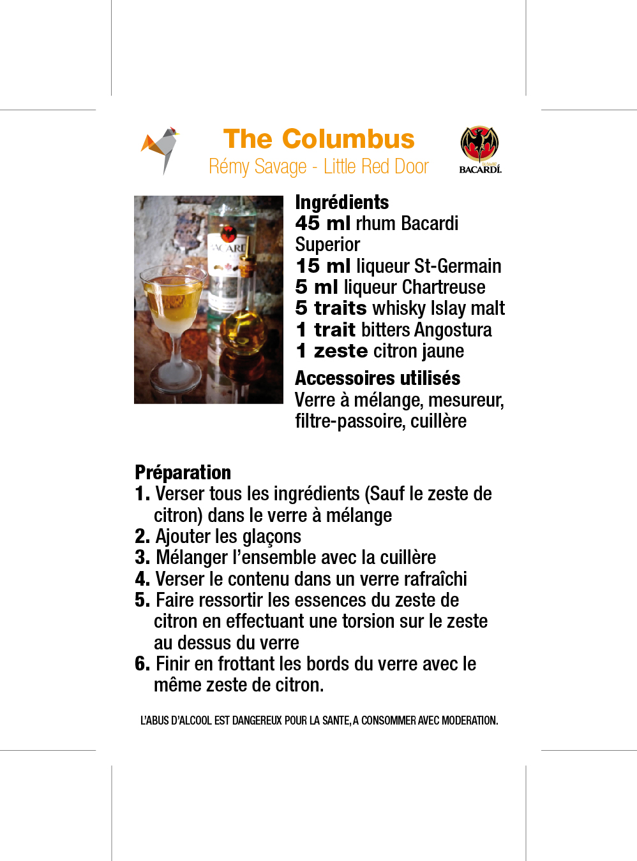 Recette the columbus, bacardi legacy